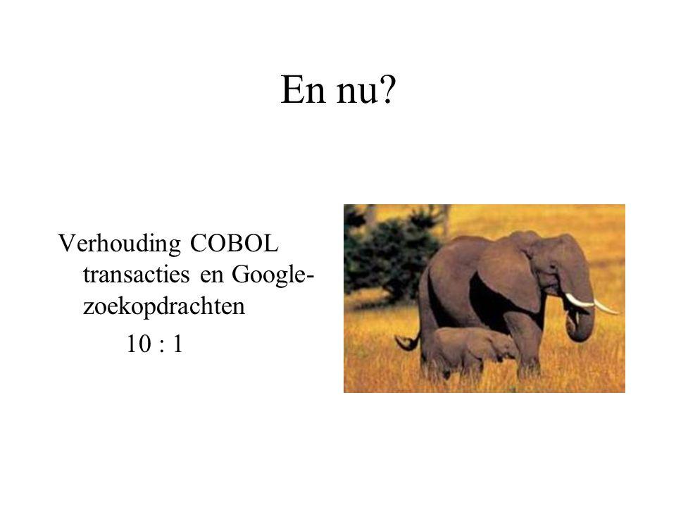 En nu? Verhouding COBOL transacties en Google- zoekopdrachten 10 : 1