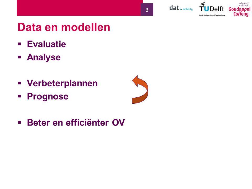 3 Data en modellen  Evaluatie  Analyse  Verbeterplannen  Prognose  Beter en efficiënter OV