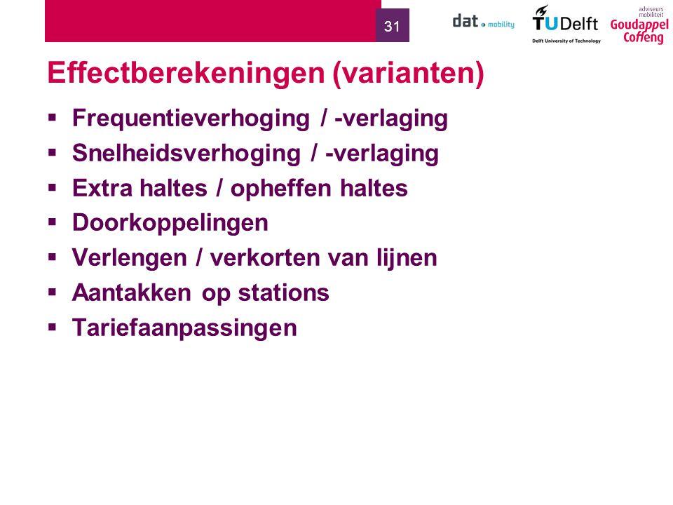 31 Effectberekeningen (varianten)  Frequentieverhoging / -verlaging  Snelheidsverhoging / -verlaging  Extra haltes / opheffen haltes  Doorkoppelingen  Verlengen / verkorten van lijnen  Aantakken op stations  Tariefaanpassingen