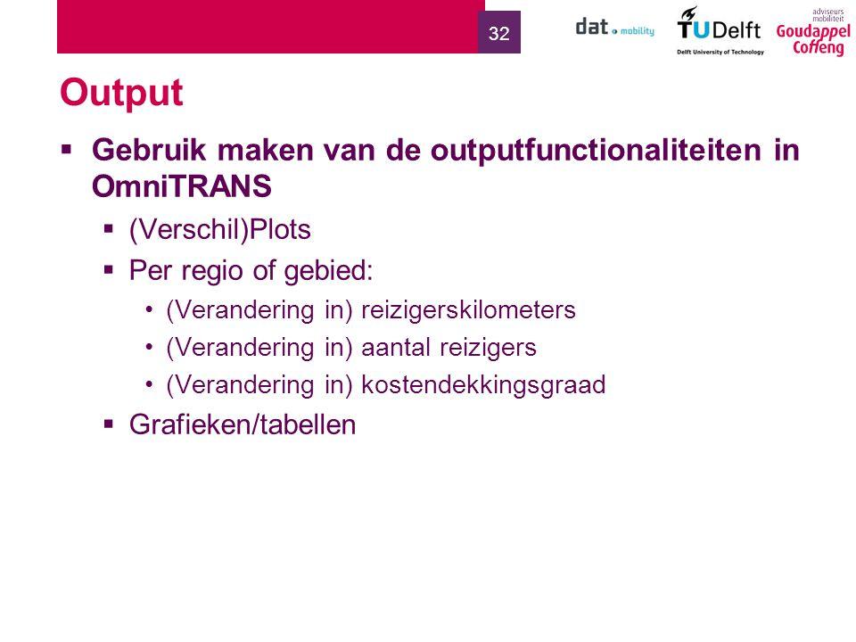 32 Output  Gebruik maken van de outputfunctionaliteiten in OmniTRANS  (Verschil)Plots  Per regio of gebied: (Verandering in) reizigerskilometers (V