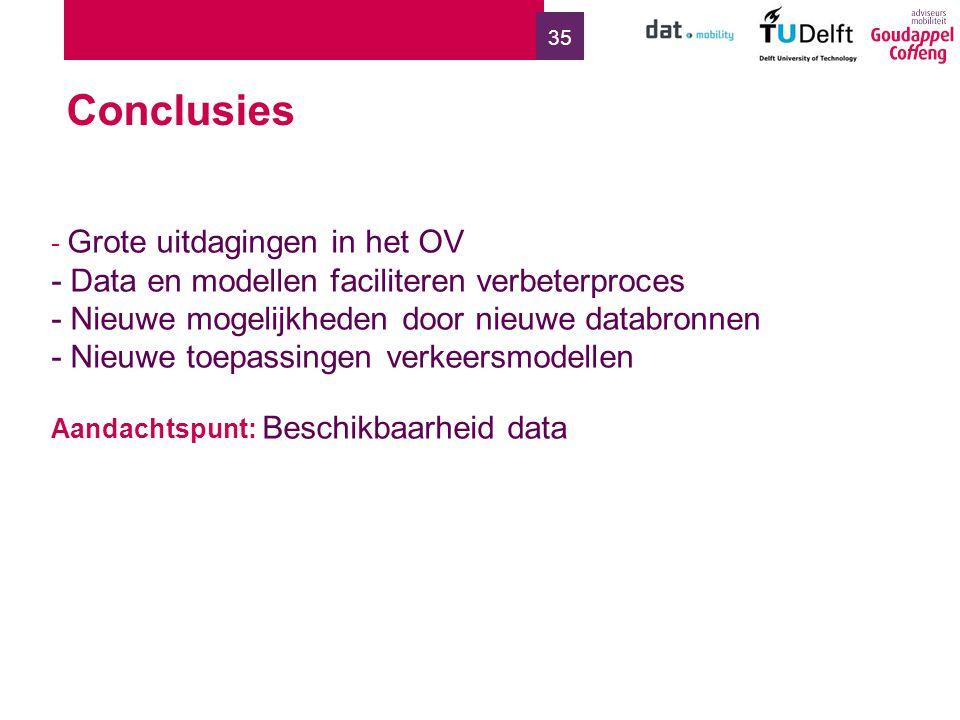 35 - Grote uitdagingen in het OV - Data en modellen faciliteren verbeterproces - Nieuwe mogelijkheden door nieuwe databronnen - Nieuwe toepassingen verkeersmodellen Aandachtspunt: Beschikbaarheid data Conclusies
