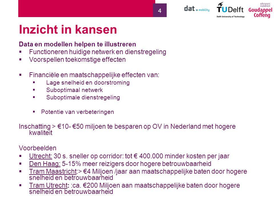 4 Inzicht in kansen Data en modellen helpen te illustreren  Functioneren huidige netwerk en dienstregeling  Voorspellen toekomstige effecten  Financiële en maatschappelijke effecten van:  Lage snelheid en doorstroming  Suboptimaal netwerk  Suboptimale dienstregeling  Potentie van verbeteringen Inschatting > €10- €50 miljoen te besparen op OV in Nederland met hogere kwaliteit Voorbeelden  Utrecht: 30 s.