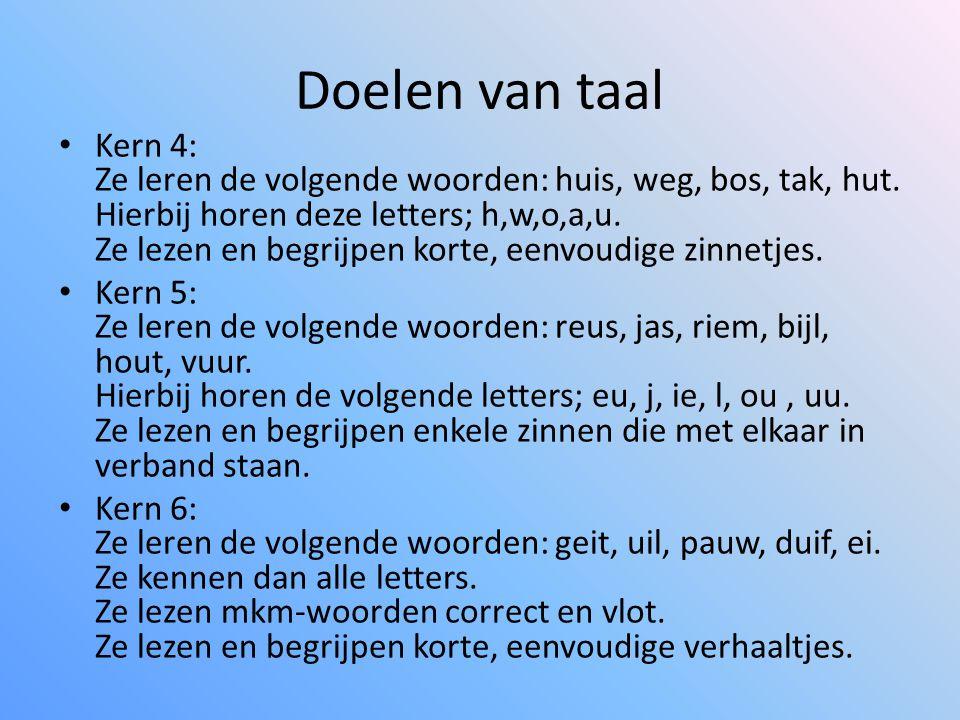 Doelen van taal Kern 4: Ze leren de volgende woorden: huis, weg, bos, tak, hut. Hierbij horen deze letters; h,w,o,a,u. Ze lezen en begrijpen korte, ee