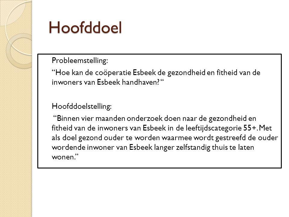 """Hoofddoel Probleemstelling: """"Hoe kan de coöperatie Esbeek de gezondheid en fitheid van de inwoners van Esbeek handhaven? """" Hoofddoelstelling: """"Binnen"""