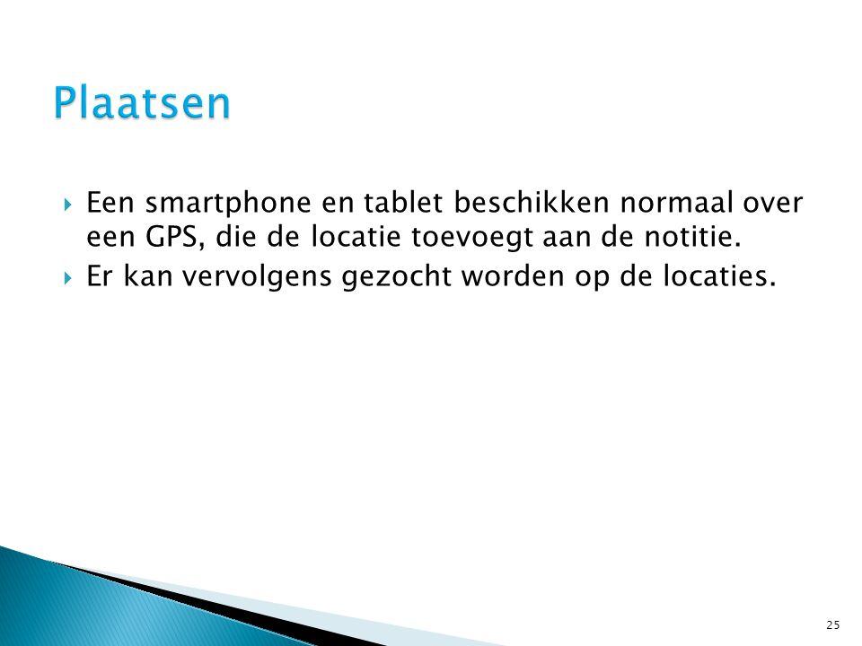  Een smartphone en tablet beschikken normaal over een GPS, die de locatie toevoegt aan de notitie.