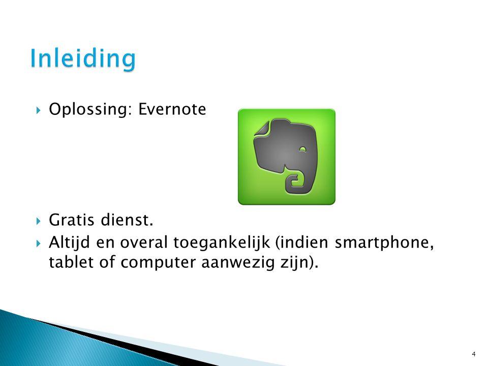  Oplossing: Evernote  Gratis dienst.