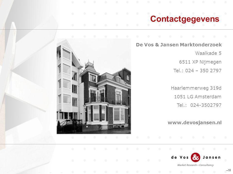 Contactgegevens –15 De Vos & Jansen Marktonderzoek Waalkade 5 6511 XP Nijmegen Tel.: 024 – 350 2797 Haarlemmerweg 319d 1051 LG Amsterdam Tel.: 024-350