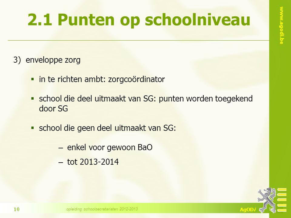 www.agodi.be AgODi 2.1 Punten op schoolniveau 3) enveloppe zorg  in te richten ambt: zorgcoördinator  school die deel uitmaakt van SG: punten worden