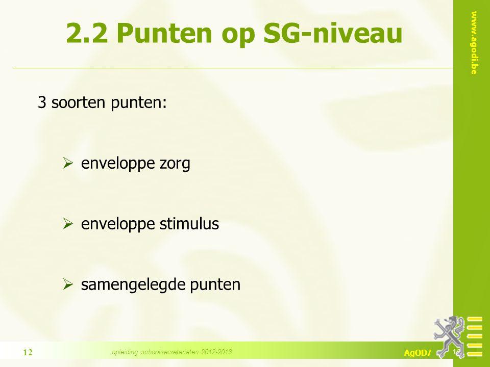 www.agodi.be AgODi 2.2 Punten op SG-niveau 3 soorten punten:  enveloppe zorg  enveloppe stimulus  samengelegde punten 12 opleiding schoolsecretaria