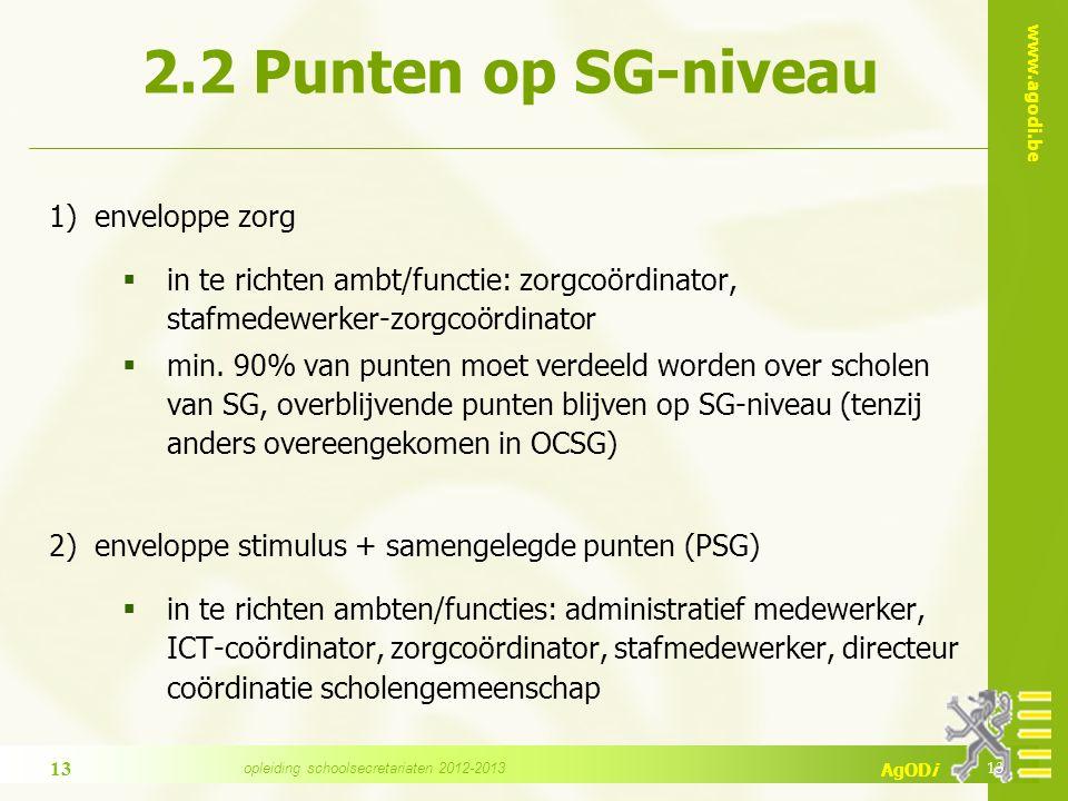 www.agodi.be AgODi 2.2 Punten op SG-niveau 1) enveloppe zorg  in te richten ambt/functie: zorgcoördinator, stafmedewerker-zorgcoördinator  min. 90%