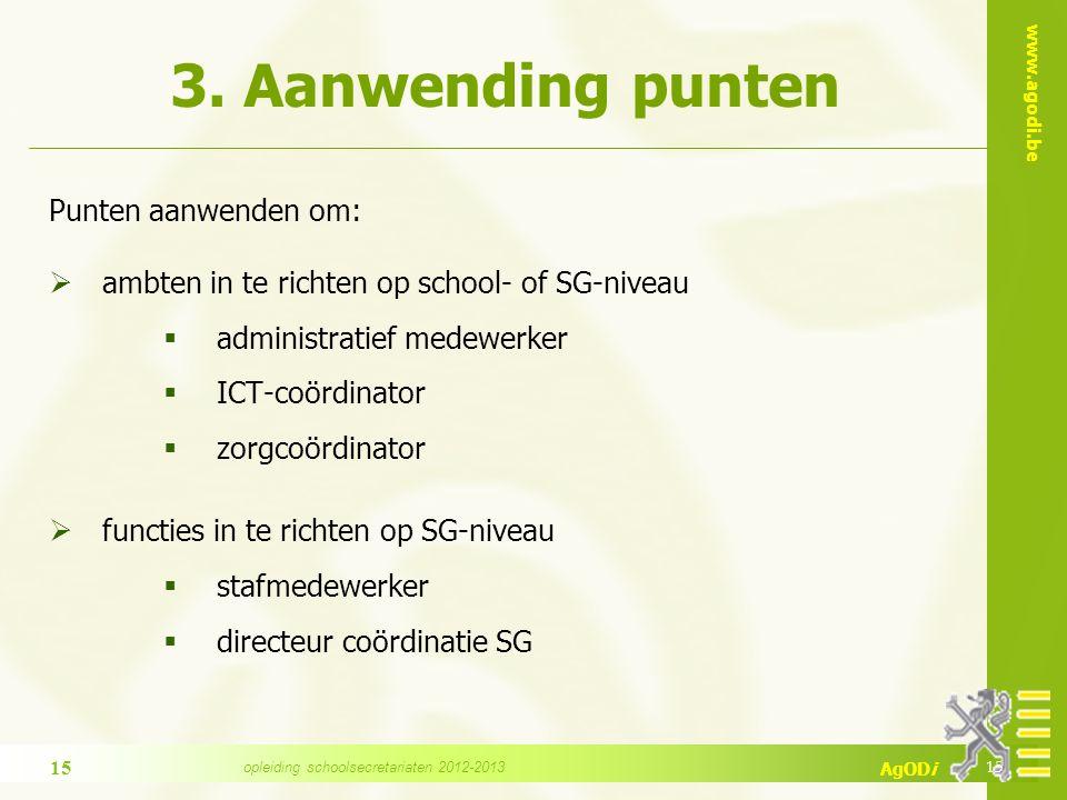 www.agodi.be AgODi 3. Aanwending punten Punten aanwenden om:  ambten in te richten op school- of SG-niveau  administratief medewerker  ICT-coördina
