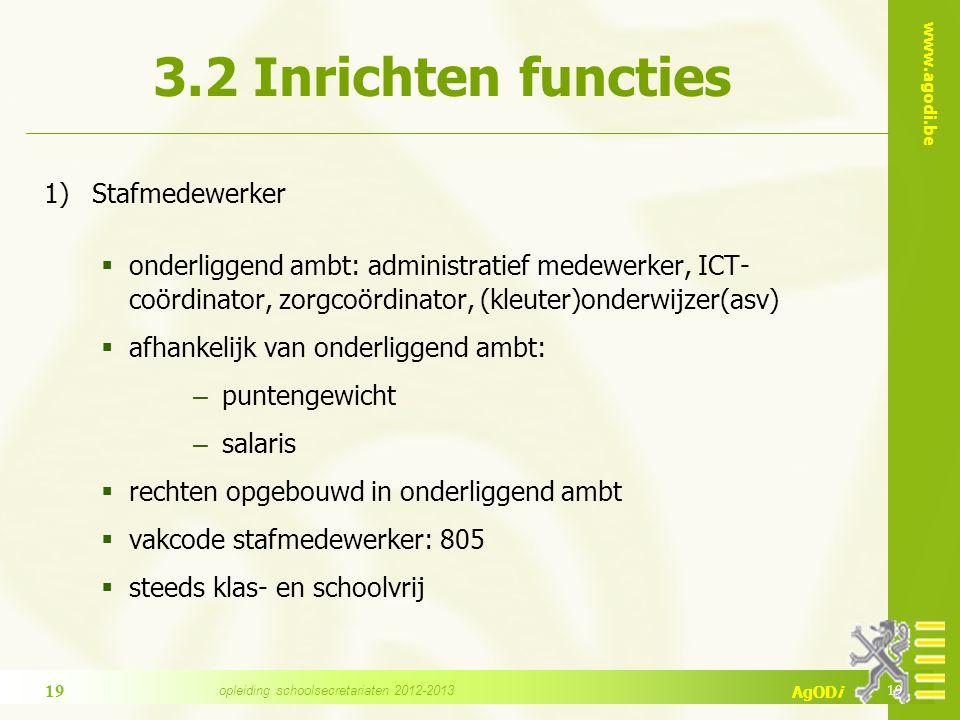 www.agodi.be AgODi 3.2 Inrichten functies 1)Stafmedewerker  onderliggend ambt: administratief medewerker, ICT- coördinator, zorgcoördinator, (kleuter