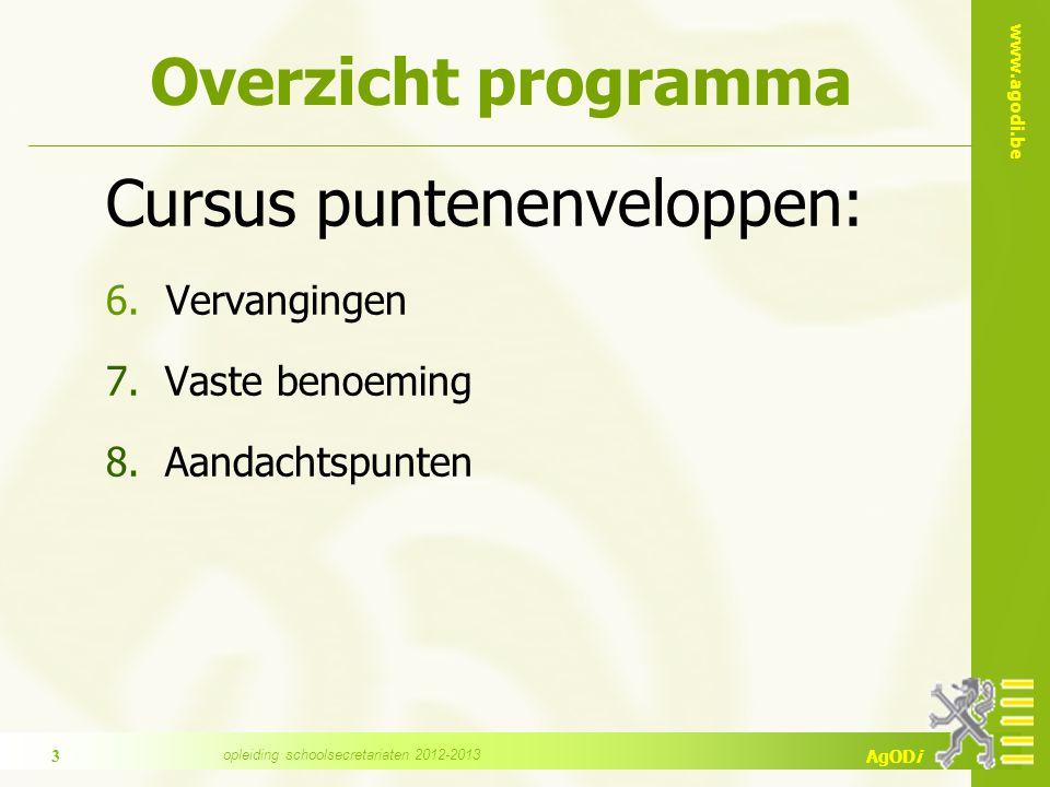 www.agodi.be AgODi Overzicht programma Cursus puntenenveloppen: 6.