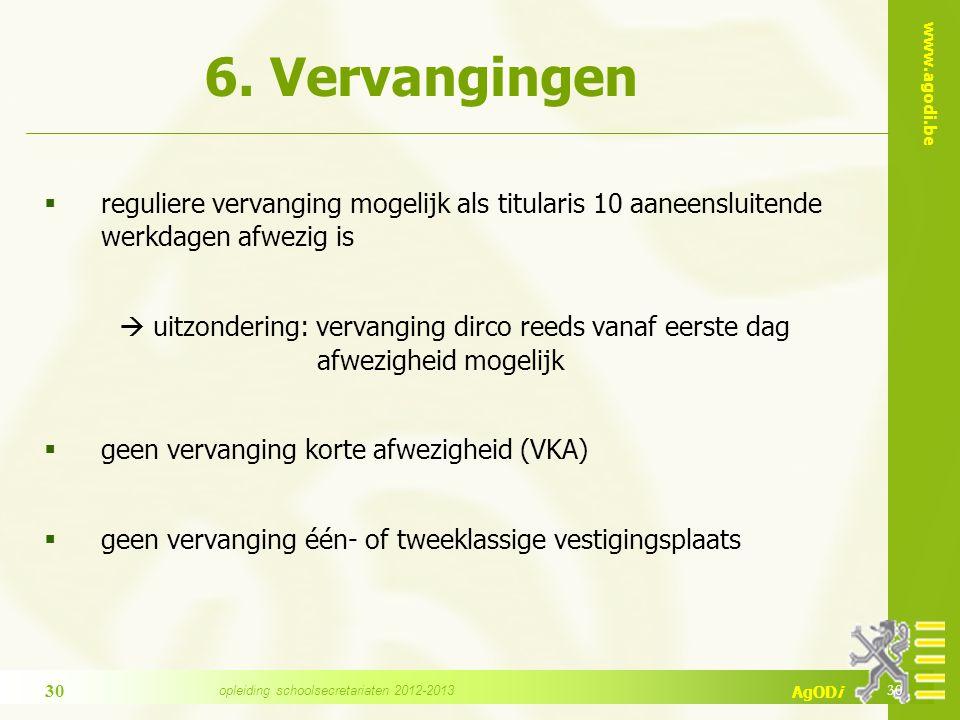 www.agodi.be AgODi 6. Vervangingen  reguliere vervanging mogelijk als titularis 10 aaneensluitende werkdagen afwezig is  uitzondering: vervanging di