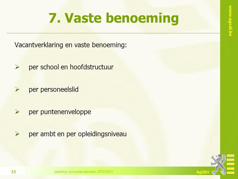 www.agodi.be AgODi 7. Vaste benoeming Vacantverklaring en vaste benoeming:  per school en hoofdstructuur  per personeelslid  per puntenenveloppe 