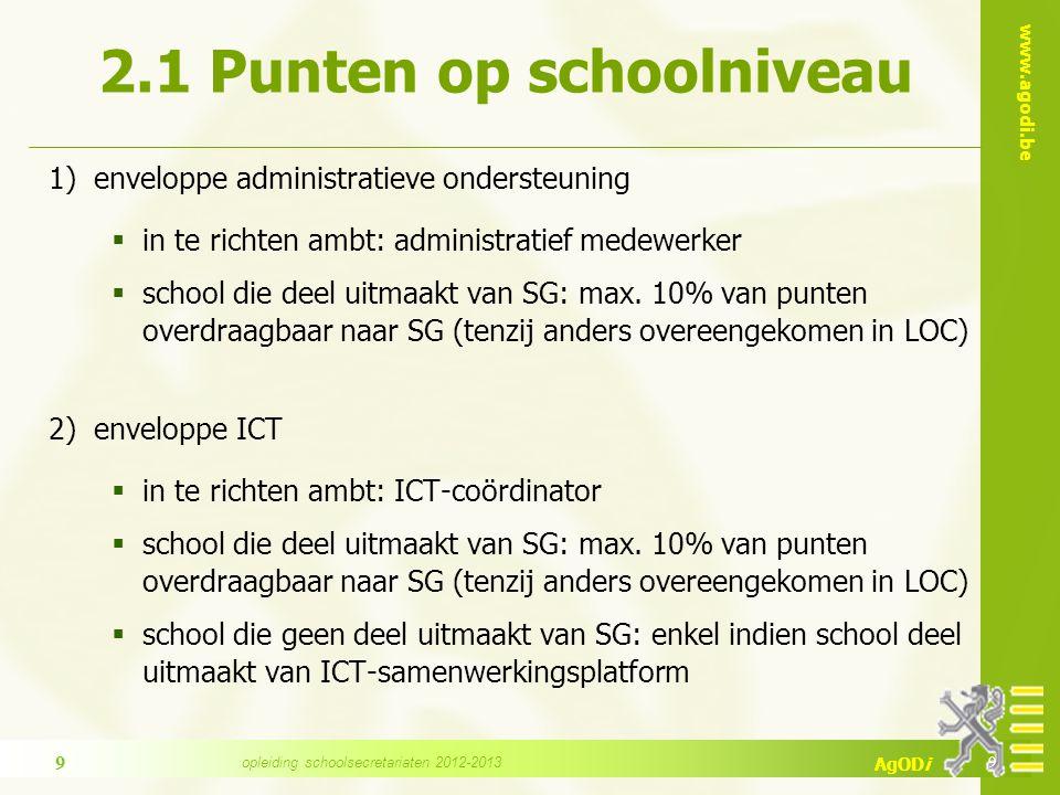 www.agodi.be AgODi 2.1 Punten op schoolniveau 1) enveloppe administratieve ondersteuning  in te richten ambt: administratief medewerker  school die deel uitmaakt van SG: max.