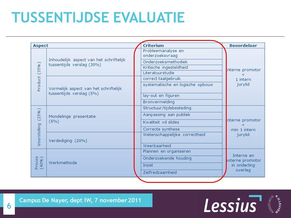 Zie departementale kalender BELANGRIJKE DATA 17 Campus De Nayer, dept IW, 7 november 2011