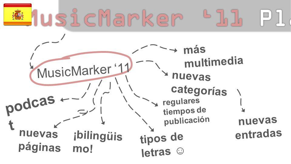 MusicMarker '11 más multimedia nuevas categorías nuevas entradas podcas t regulares tiempos de publicación nuevas páginas ¡bilingüis mo.
