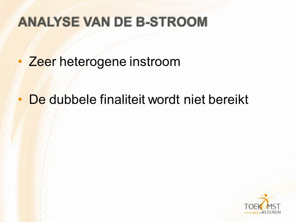 ANALYSE VAN DE B-STROOM Zeer heterogene instroom De dubbele finaliteit wordt niet bereikt