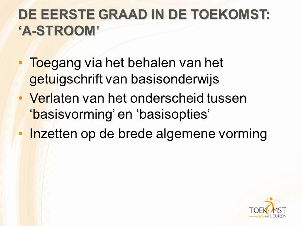 DE EERSTE GRAAD IN DE TOEKOMST: 'A-STROOM' Toegang via het behalen van het getuigschrift van basisonderwijs Verlaten van het onderscheid tussen 'basisvorming' en 'basisopties' Inzetten op de brede algemene vorming