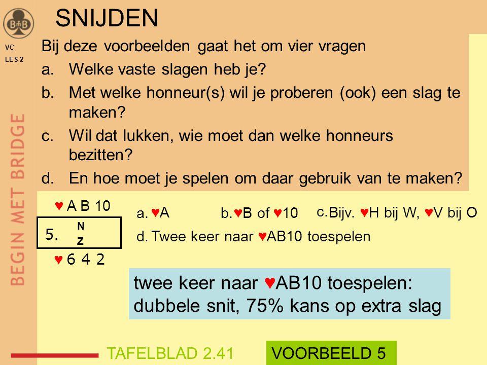 ♥A ♥B of ♥10 Bijv. ♥H bij W, ♥V bij O Twee keer naar ♥AB10 toespelen ♥ A B 10 ♥ 6 4 2 Bij deze voorbeelden gaat het om vier vragen a.Welke vaste slage
