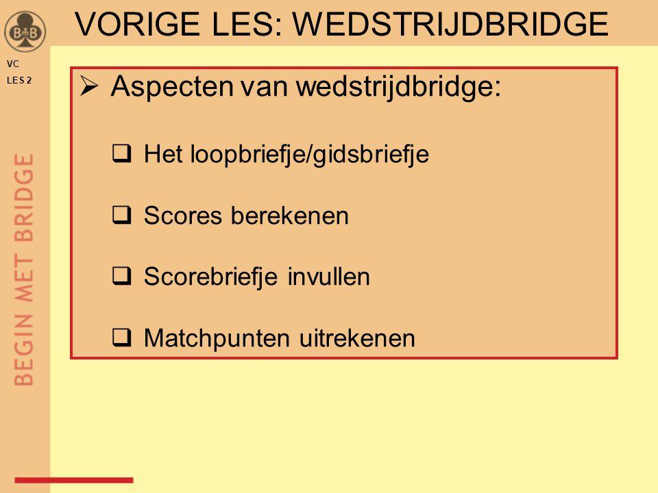 VC LES 2 VORIGE LES: WEDSTRIJDBRIDGE  Aspecten van wedstrijdbridge:  Het loopbriefje/gidsbriefje  Scores berekenen  Scorebriefje invullen  Matchp