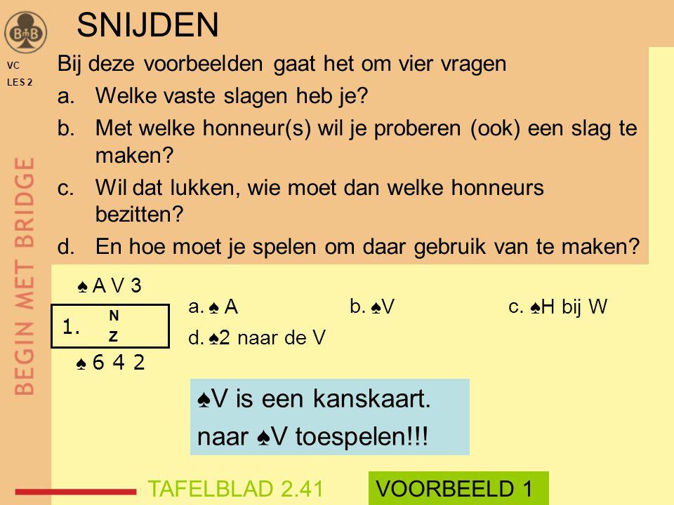 ♠ A ♠V ♠H bij W ♠2 naar de V VC LES 2 Bij deze voorbeelden gaat het om vier vragen a.Welke vaste slagen heb je? b.Met welke honneur(s) wil je proberen