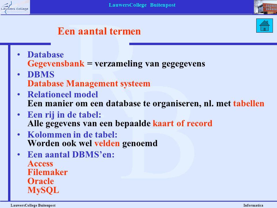 LauwersCollege Buitenpost LauwersCollege Buitenpost Informatica Een aantal termen Database Gegevensbank = verzameling van gegegevens DBMS Database Man