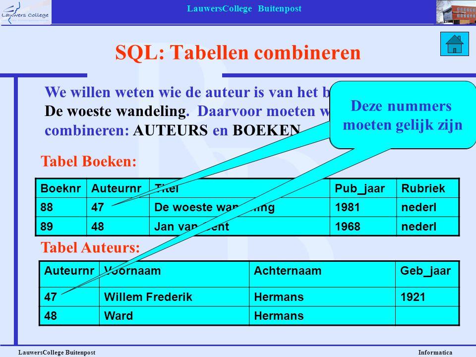 LauwersCollege Buitenpost LauwersCollege Buitenpost Informatica SQL: Tabellen combineren BoeknrAuteurnrTitelPub_jaarRubriek 8847De woeste wandeling198