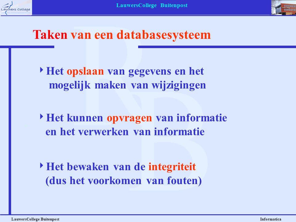 LauwersCollege Buitenpost LauwersCollege Buitenpost Informatica Voorbeeld database Tabel: LEERLINGEN LLNR - VOORNAAM - TUSSENVOEGSEL - ACHTERNAAM - STRAAT - HUISNUMMER - POSTCODE - PLAATS - TELEFOON - GESLACHT - GEB_DATUM - KLAS Tabel: AUTEURS AUTEURNR - VOORNAAM - VOORLETTERS - TUSSEN- VOEGSEL - ACHTERNAAM - GEB_DATUM - STERF_JAAR Tabel: BOEKEN BOEKNR - AUTNR - TITEL - RUBRIEK Tabel: EXEMPLAREN EXNR - BOEKNR - UITLEENBAAR - STATUS De voorbeelden op de volgende dia's hebben betrekking op de database Bibliotheek, met de volgende tabellen: