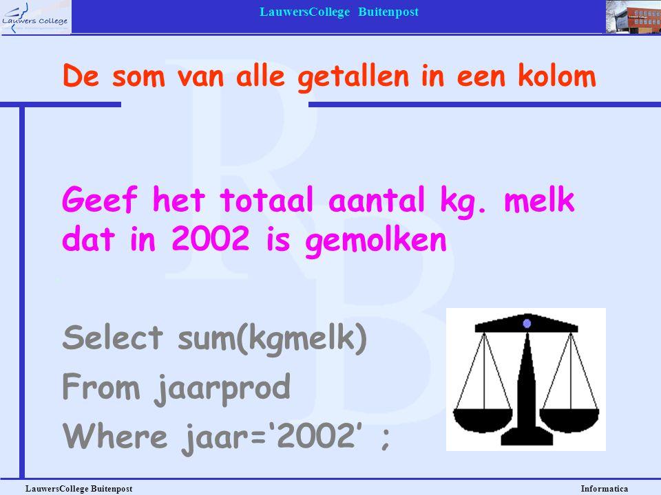 LauwersCollege Buitenpost LauwersCollege Buitenpost Informatica Geef het totaal aantal kg. melk dat in 2002 is gemolken Select sum(kgmelk) De som van