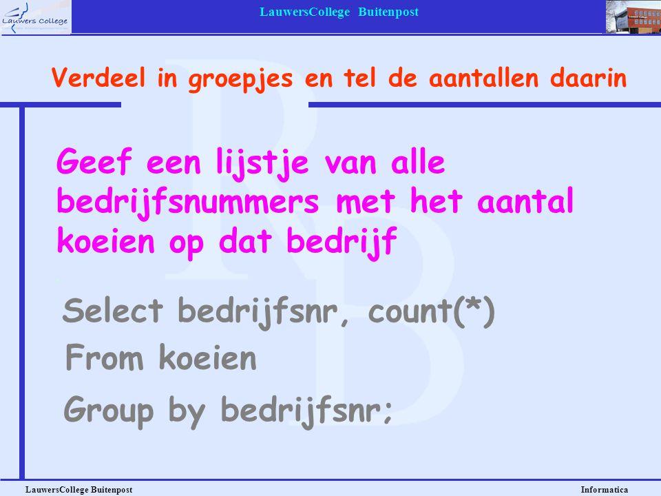 LauwersCollege Buitenpost LauwersCollege Buitenpost Informatica Geef een lijstje van alle bedrijfsnummers met het aantal koeien op dat bedrijf Select