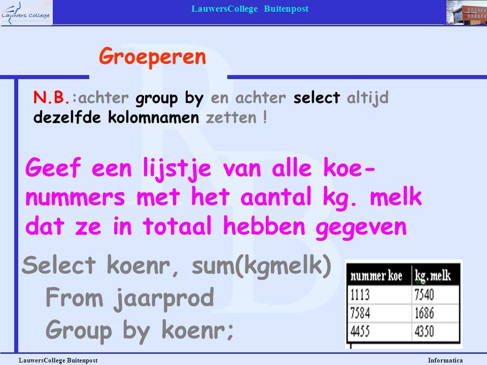 LauwersCollege Buitenpost LauwersCollege Buitenpost Informatica Geef een lijstje van alle koe- nummers met het aantal kg. melk dat ze in totaal hebben