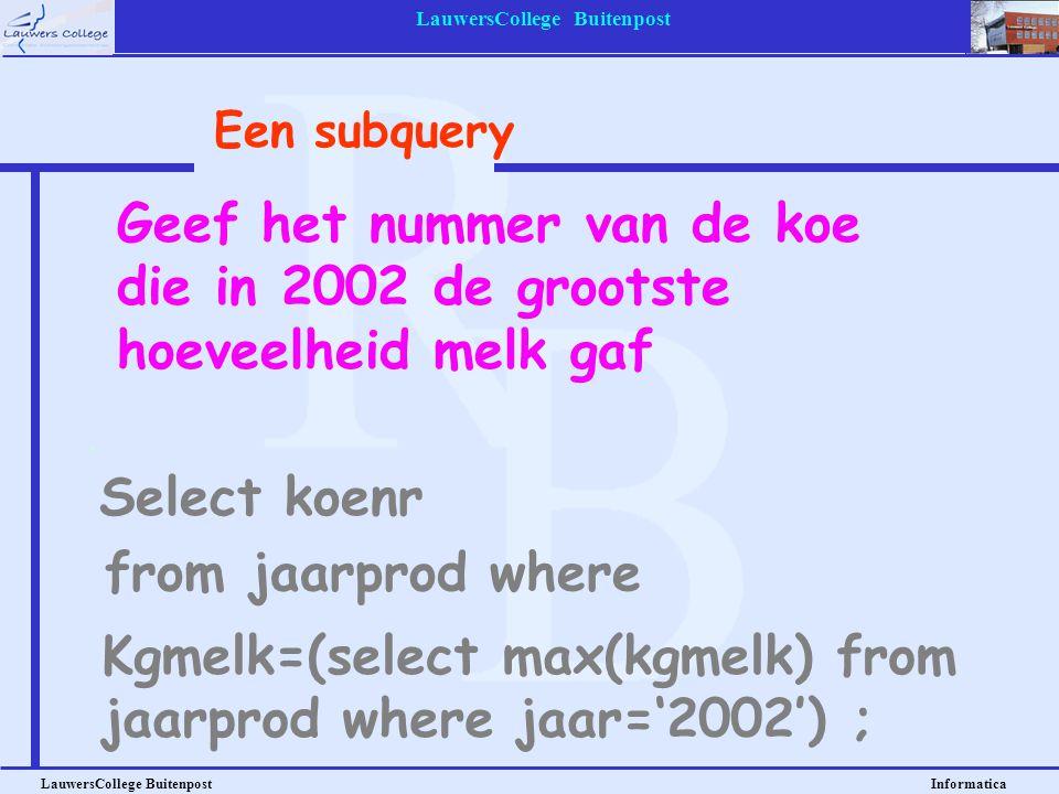 LauwersCollege Buitenpost LauwersCollege Buitenpost Informatica Geef het nummer van de koe die in 2002 de grootste hoeveelheid melk gaf Select koenr E