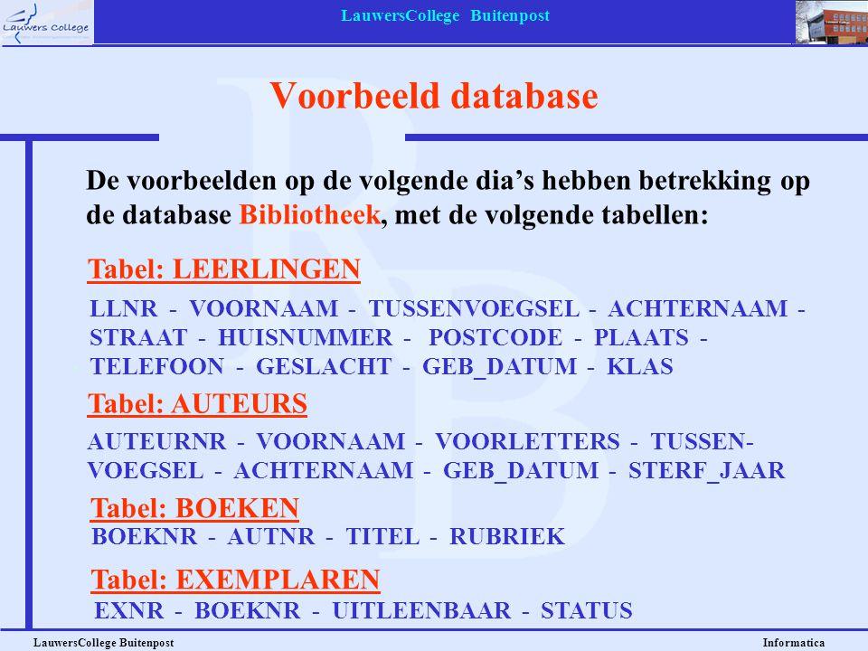 LauwersCollege Buitenpost LauwersCollege Buitenpost Informatica Voorbeeld database Tabel: LEERLINGEN LLNR - VOORNAAM - TUSSENVOEGSEL - ACHTERNAAM - ST
