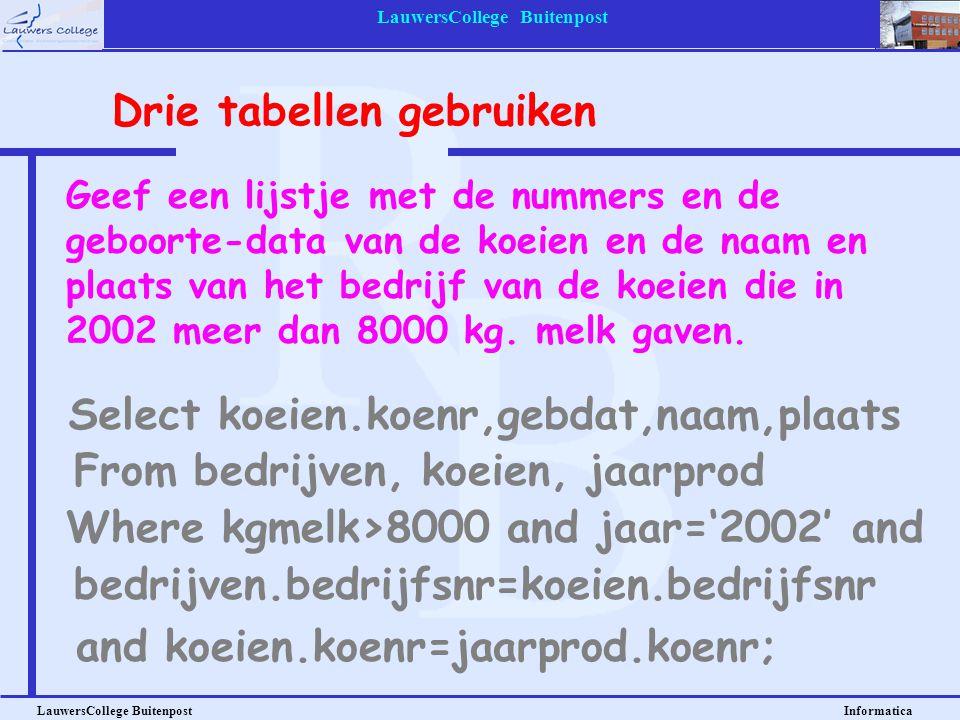 LauwersCollege Buitenpost LauwersCollege Buitenpost Informatica Geef een lijstje met de nummers en de geboorte-data van de koeien en de naam en plaats