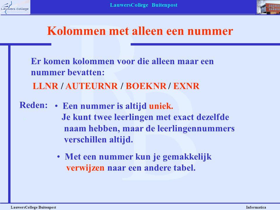 LauwersCollege Buitenpost LauwersCollege Buitenpost Informatica Kolommen met alleen een nummer Er komen kolommen voor die alleen maar een nummer bevat