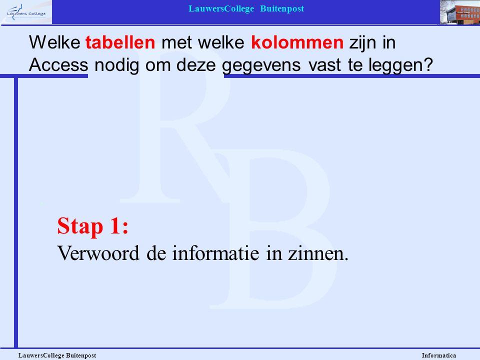 LauwersCollege Buitenpost LauwersCollege Buitenpost Informatica Stap 1: Verwoord de informatie in zinnen. Welke tabellen met welke kolommen zijn in Ac