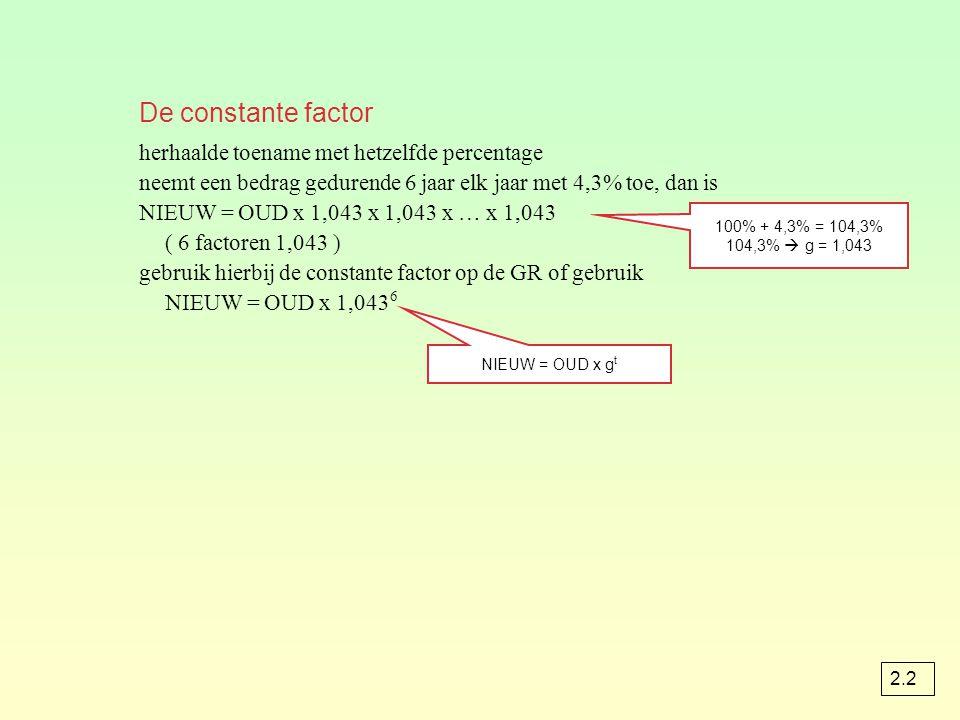 De constante factor herhaalde toename met hetzelfde percentage neemt een bedrag gedurende 6 jaar elk jaar met 4,3% toe, dan is NIEUW = OUD x 1,043 x 1,043 x … x 1,043 ( 6 factoren 1,043 ) gebruik hierbij de constante factor op de GR of gebruik NIEUW = OUD x 1,043 6 100% + 4,3% = 104,3% 104,3%  g = 1,043 NIEUW = OUD x g t 2.2