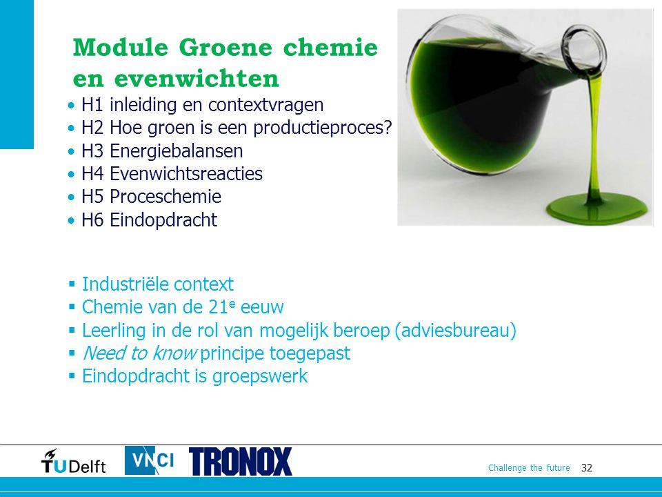 32 Challenge the future H1 inleiding en contextvragen H2 Hoe groen is een productieproces? H3 Energiebalansen H4 Evenwichtsreacties H5 Proceschemie H6