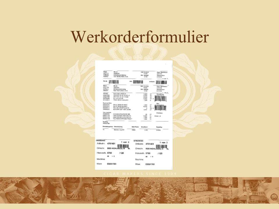Werkwijze Scan werkorder-id, creeer bestand Kopieer bestand naar MFG/Pro MFG/Pro zoekt de benodigde gegevens (o.a.