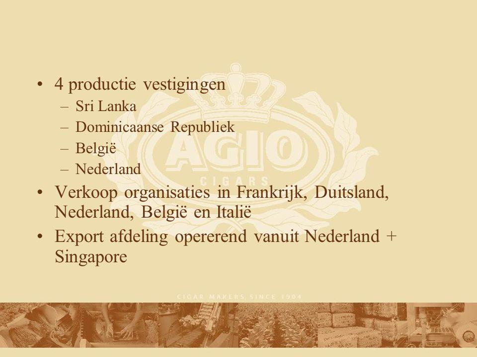 4 productie vestigingen –Sri Lanka –Dominicaanse Republiek –België –Nederland Verkoop organisaties in Frankrijk, Duitsland, Nederland, België en Italië Export afdeling opererend vanuit Nederland + Singapore