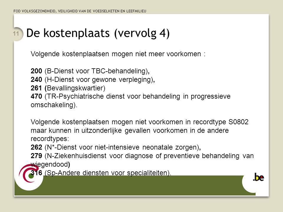 FOD VOLKSGEZONDHEID, VEILIGHEID VAN DE VOEDSELKETEN EN LEEFMILIEU 11 Volgende kostenplaatsen mogen niet meer voorkomen : 200 (B-Dienst voor TBC-behand