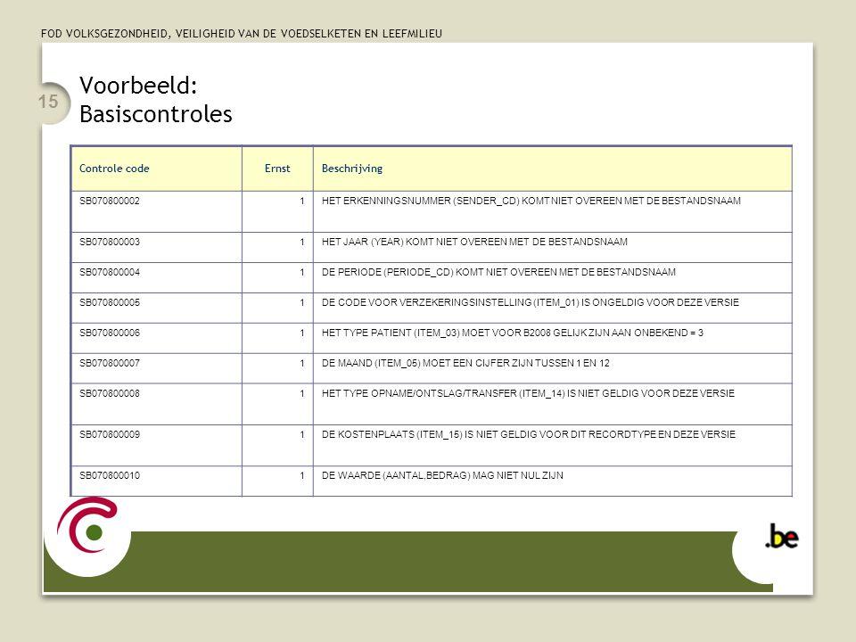 FOD VOLKSGEZONDHEID, VEILIGHEID VAN DE VOEDSELKETEN EN LEEFMILIEU 15 Voorbeeld: Basiscontroles Controle codeErnstBeschrijving SB0708000021HET ERKENNIN