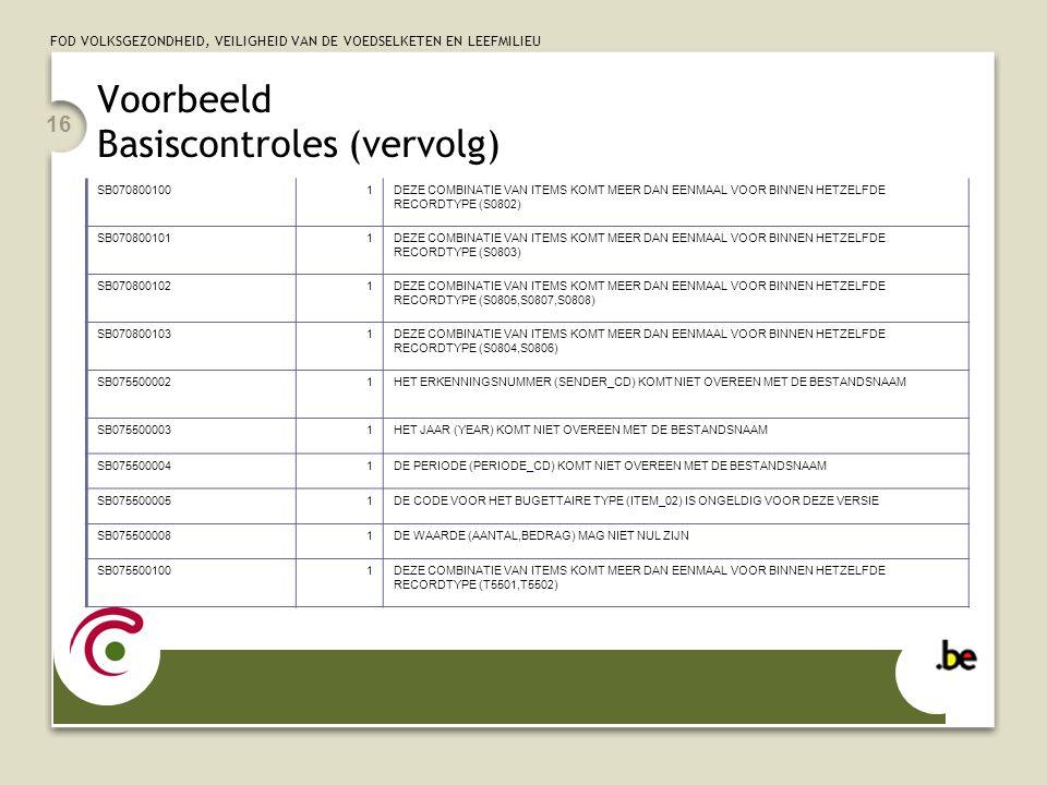 FOD VOLKSGEZONDHEID, VEILIGHEID VAN DE VOEDSELKETEN EN LEEFMILIEU 16 Voorbeeld Basiscontroles (vervolg) SB0708001001DEZE COMBINATIE VAN ITEMS KOMT MEE
