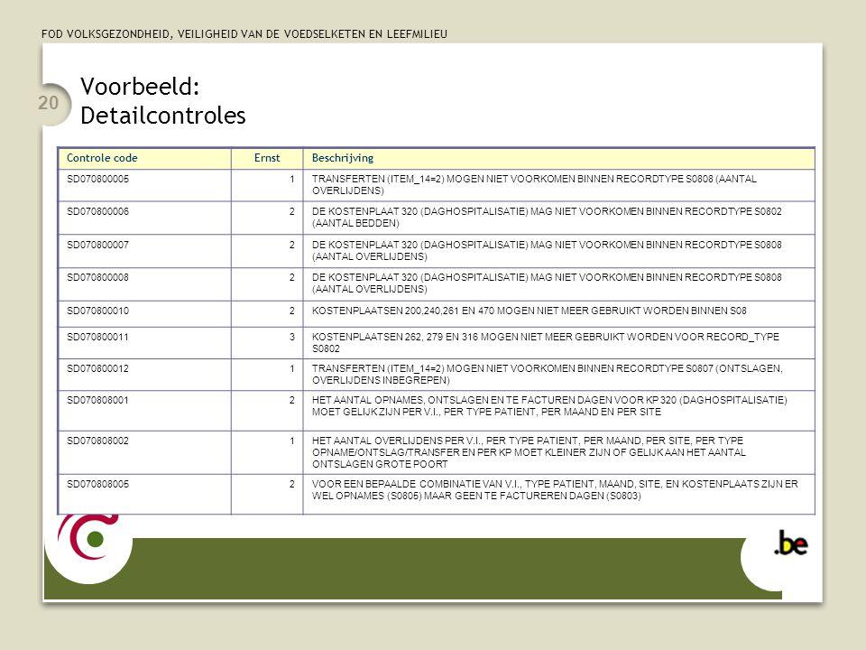 FOD VOLKSGEZONDHEID, VEILIGHEID VAN DE VOEDSELKETEN EN LEEFMILIEU 20 Voorbeeld: Detailcontroles Controle codeErnstBeschrijving SD0708000051TRANSFERTEN