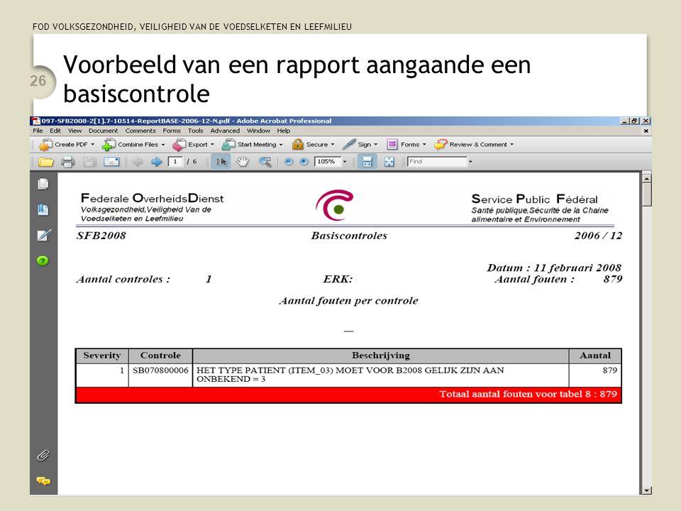 FOD VOLKSGEZONDHEID, VEILIGHEID VAN DE VOEDSELKETEN EN LEEFMILIEU 26 Voorbeeld van een rapport aangaande een basiscontrole
