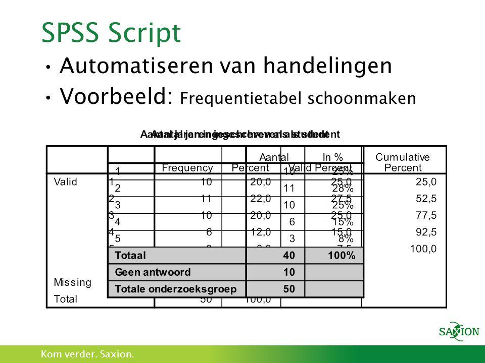Kom verder. Saxion. SPSS Script Automatiseren van handelingen Voorbeeld: Frequentietabel schoonmaken
