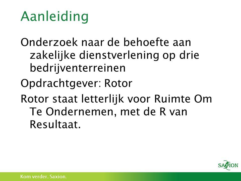 Kom verder. Saxion. Aanleiding Onderzoek naar de behoefte aan zakelijke dienstverlening op drie bedrijventerreinen Opdrachtgever: Rotor Rotor staat le