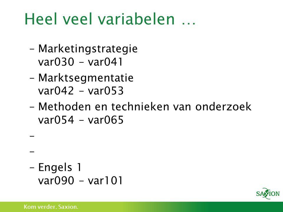 Kom verder. Saxion. Heel veel variabelen … –Marketingstrategie var030 – var041 –Marktsegmentatie var042 – var053 –Methoden en technieken van onderzoek